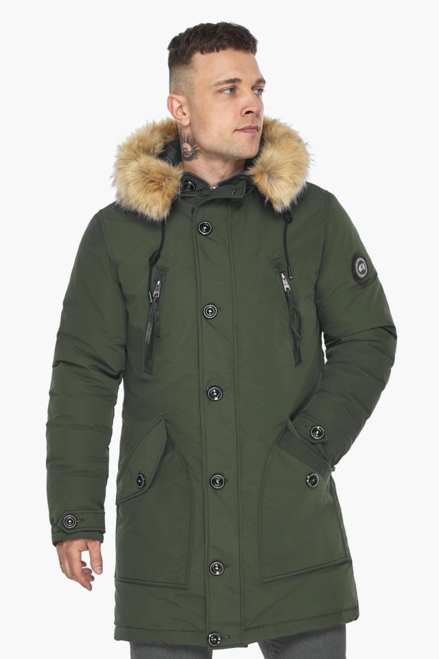 """Куртка – воздуховик практичный мужской зимний цвет хаки модель 30118 Braggart """"Angel's Fluff Man"""" фото 4"""