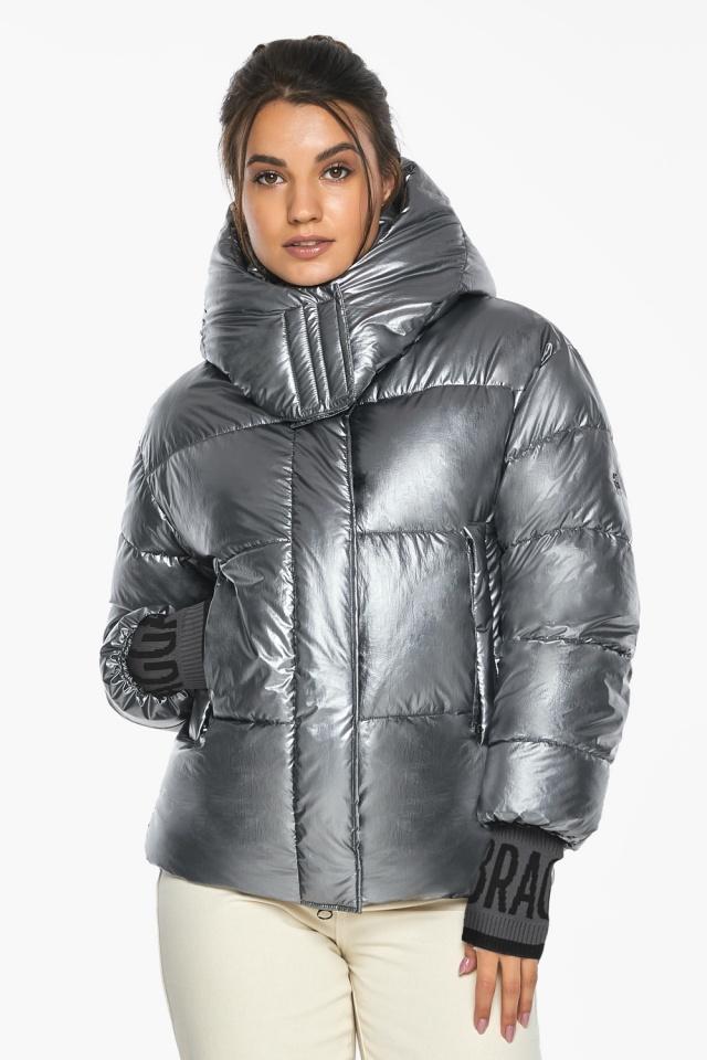 """Жіноча куртка з манжетами зимова колір срібло модель 44520 Braggart """"Angel's Fluff"""" фото 4"""