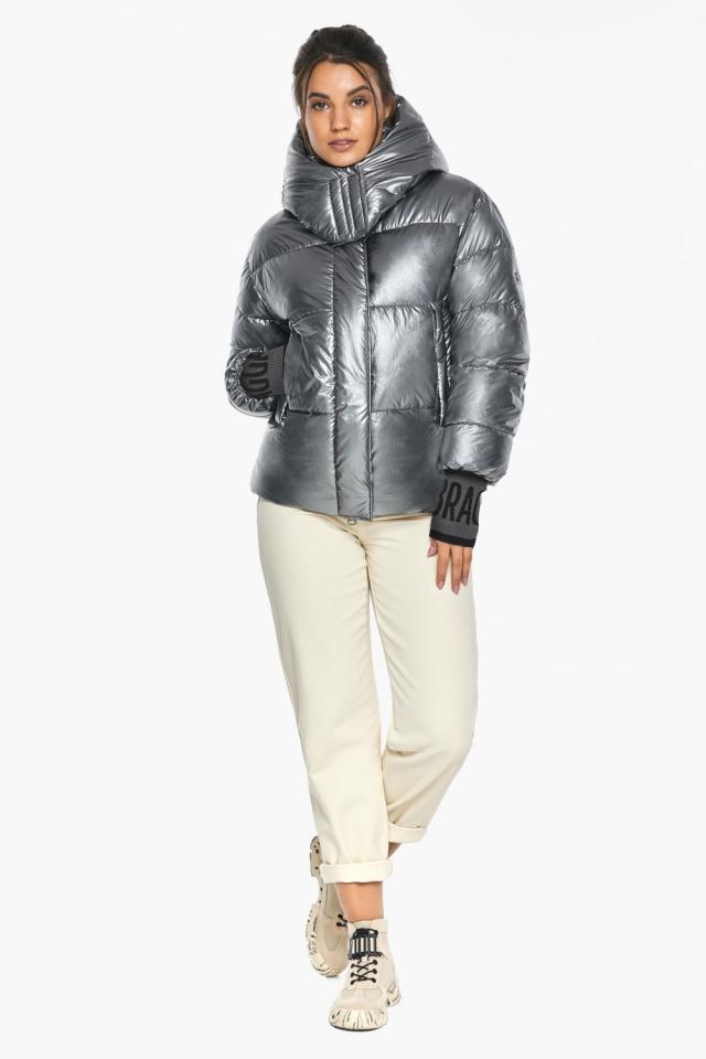 """Жіноча куртка з манжетами зимова колір срібло модель 44520 Braggart """"Angel's Fluff"""" фото 2"""