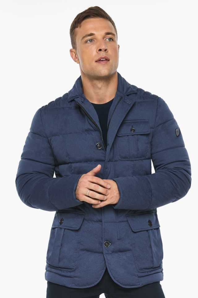 """Куртка – воздуховик зимний с карманами мужской цвета джинс модель 35230 Braggart """"Angel's Fluff Man"""" фото 3"""