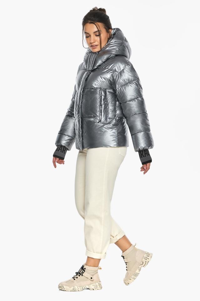 """Жіноча куртка з манжетами зимова колір срібло модель 44520 Braggart """"Angel's Fluff"""" фото 3"""