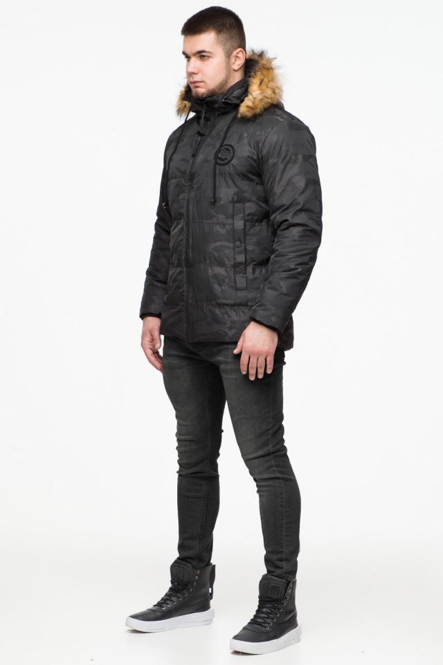 """Чорна зимова чоловіча куртка з коміром модель 25310 Braggart """"Youth"""" фото 4"""