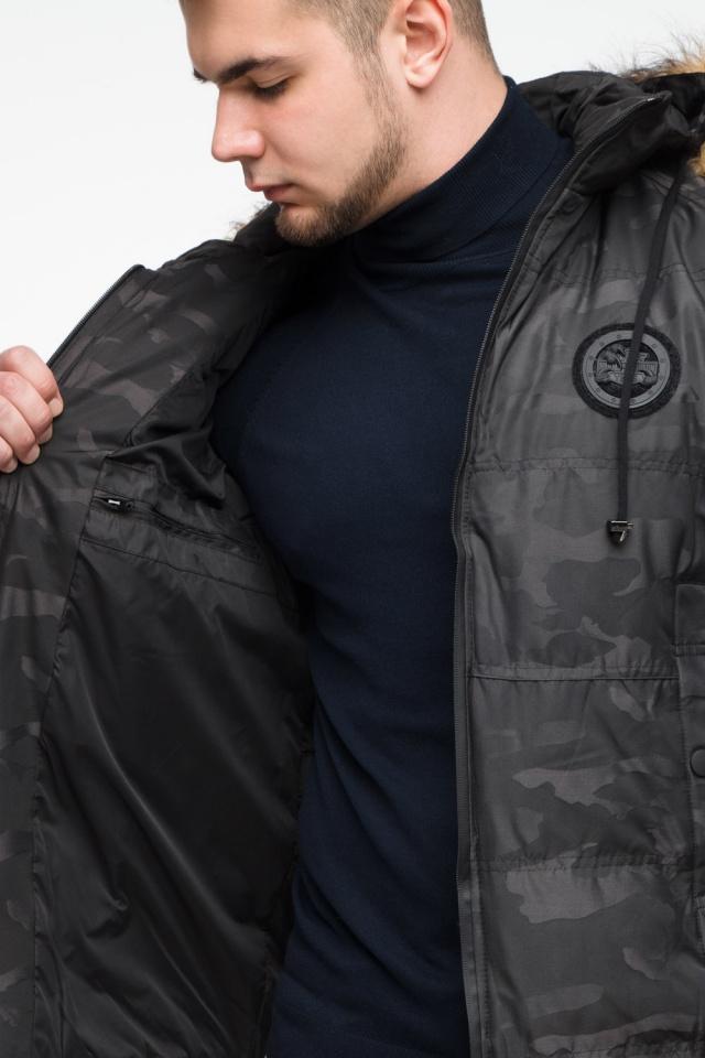 """Чорна зимова чоловіча куртка з коміром модель 25310 Braggart """"Youth"""" фото 9"""