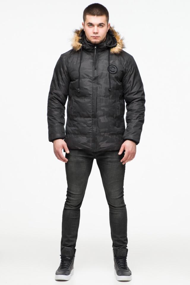 """Чорна зимова чоловіча куртка з коміром модель 25310 Braggart """"Youth"""" фото 2"""