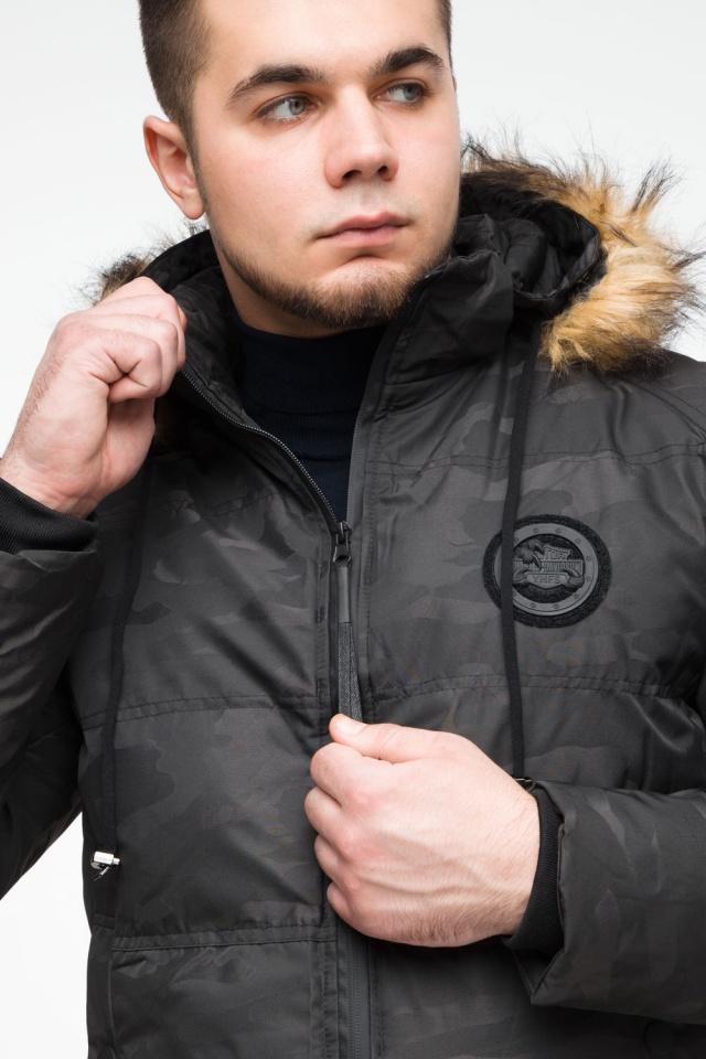 """Чорна зимова чоловіча куртка з коміром модель 25310 Braggart """"Youth"""" фото 8"""