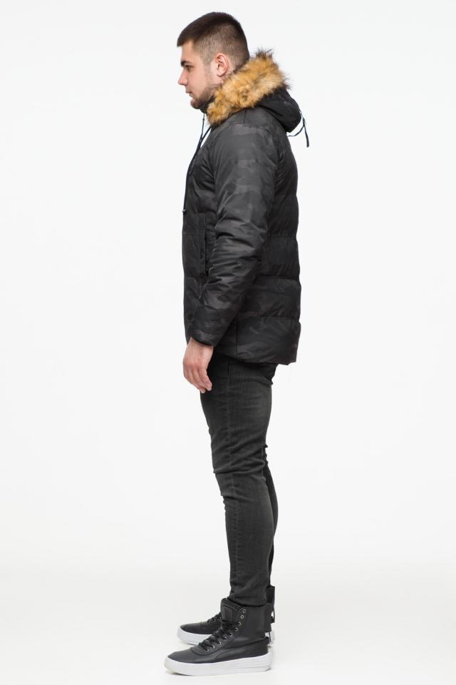 """Чорна зимова чоловіча куртка з коміром модель 25310 Braggart """"Youth"""" фото 5"""