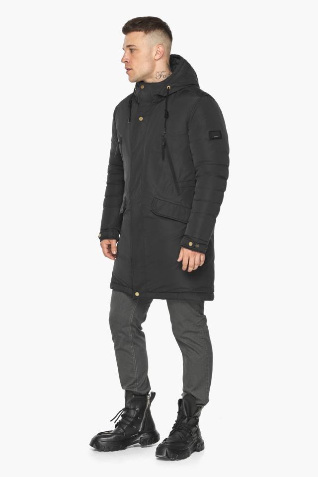 """Куртка – воздуховик с капюшоном мужской чёрный зимний модель 30773 Braggart """"Angel's Fluff Man"""" фото 6"""