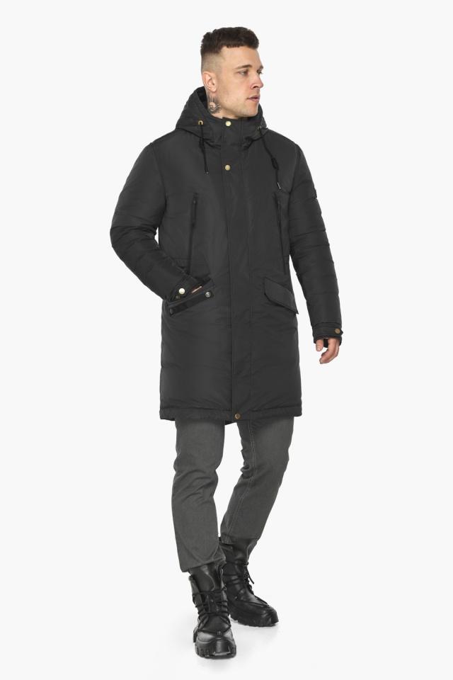 """Куртка – воздуховик с капюшоном мужской чёрный зимний модель 30773 Braggart """"Angel's Fluff Man"""" фото 2"""