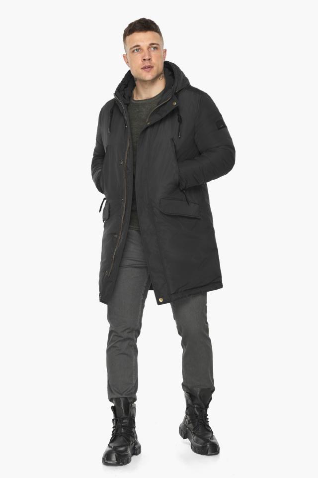 """Куртка – воздуховик с капюшоном мужской чёрный зимний модель 30773 Braggart """"Angel's Fluff Man"""" фото 5"""