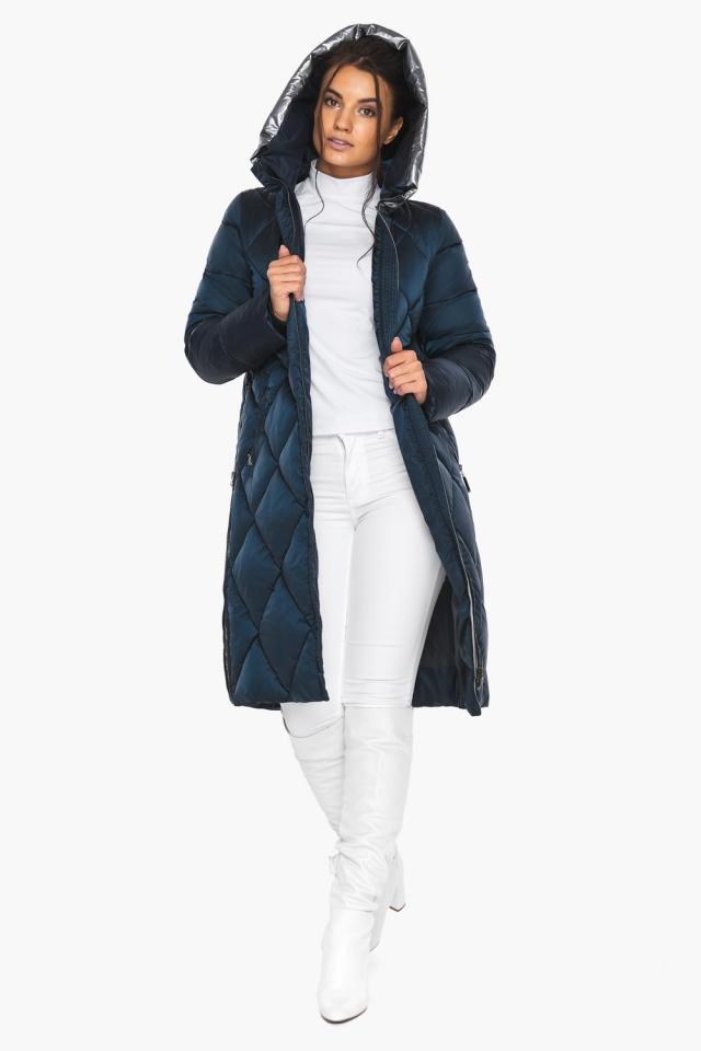 """Сапфировая куртка женская длинная модель 46510 Braggart """"Angel's Fluff"""" фото 5"""