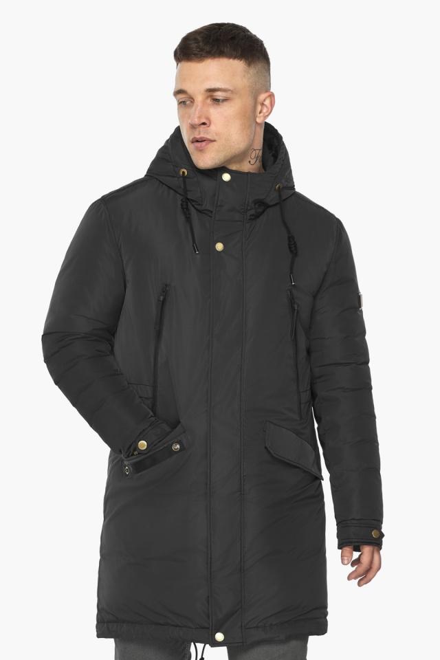 """Куртка – воздуховик с капюшоном мужской чёрный зимний модель 30773 Braggart """"Angel's Fluff Man"""" фото 4"""