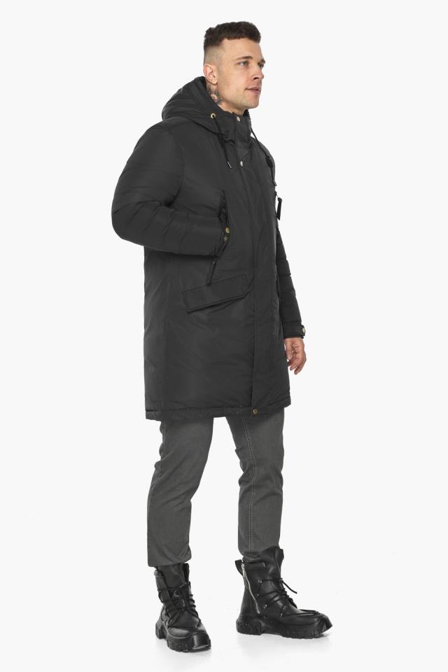 """Куртка – воздуховик с капюшоном мужской чёрный зимний модель 30773 Braggart """"Angel's Fluff Man"""" фото 7"""
