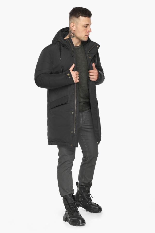 """Куртка – воздуховик с капюшоном мужской чёрный зимний модель 30773 Braggart """"Angel's Fluff Man"""" фото 3"""