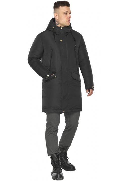 """Куртка – воздуховик з капюшоном чоловічий чорний зимовий модель 30773 Braggart """"Angel's Fluff Man"""" фото 1"""