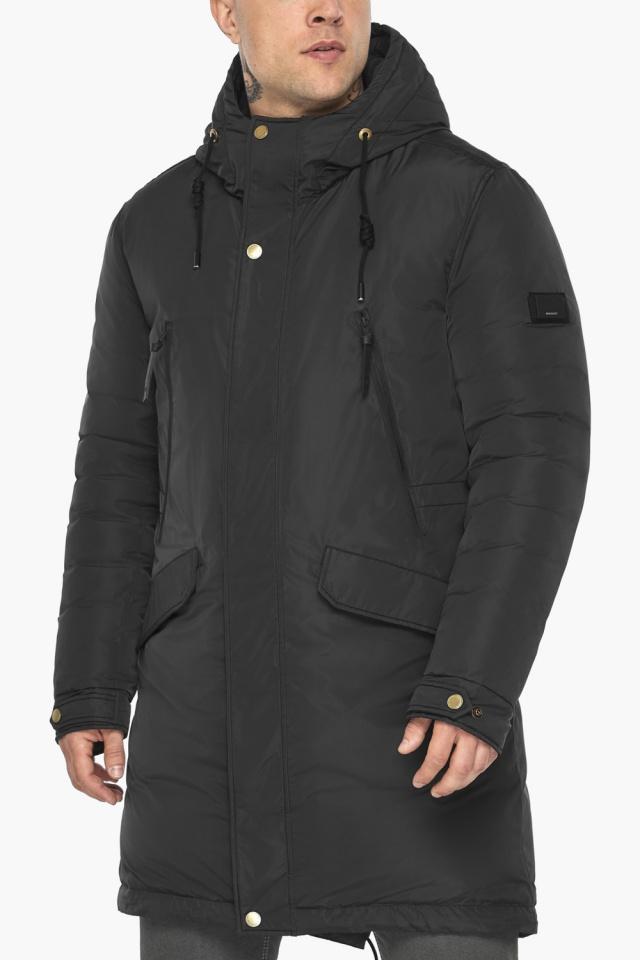 """Куртка – воздуховик с капюшоном мужской чёрный зимний модель 30773 Braggart """"Angel's Fluff Man"""" фото 9"""