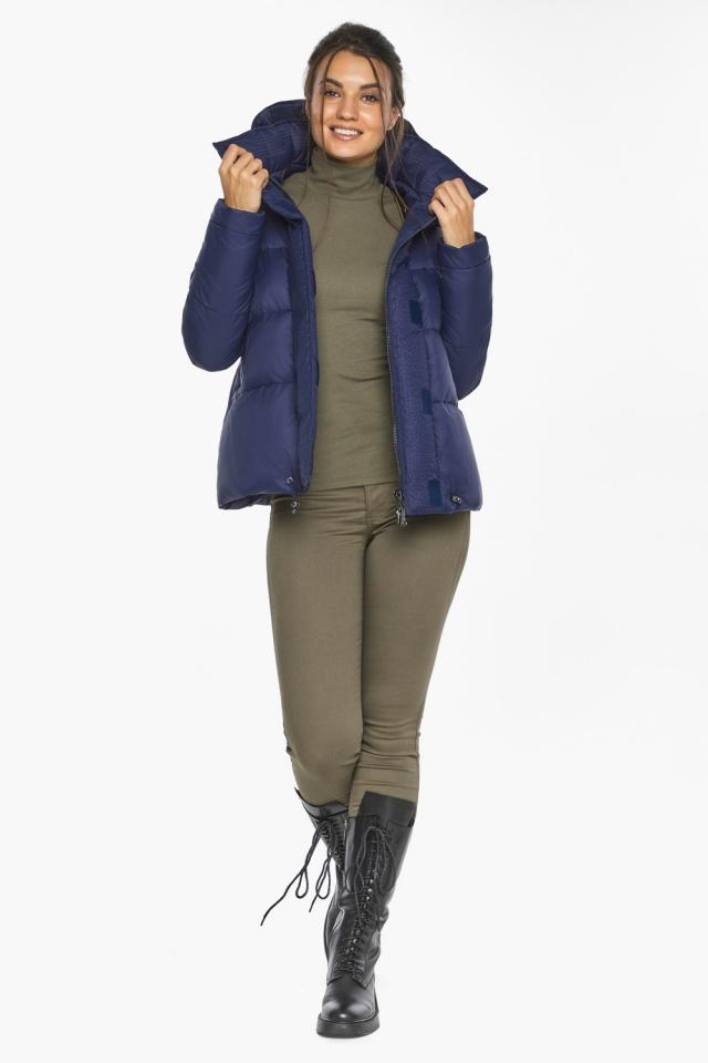 """Куртка синяя зимняя с манжетами женская модель 43560 Braggart """"Angel's Fluff"""" фото 4"""