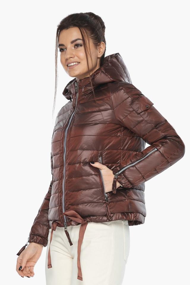 """Удобная куртка женская каштановая осенне-весенняя модель 62574 Braggart """"Angel's Fluff"""" фото 5"""