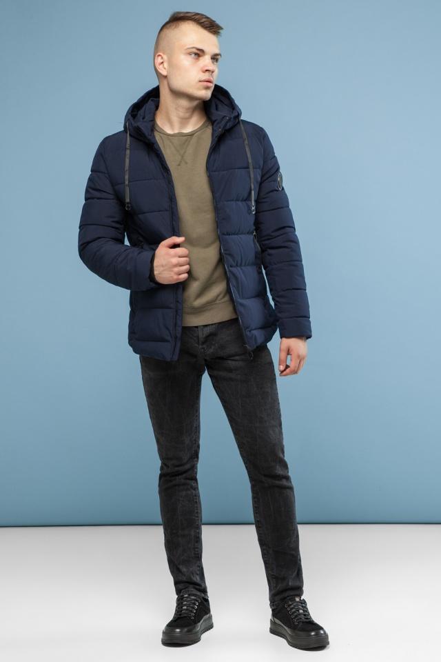 Зимняя куртка в минималистическом стиле тёмно-синяя мужская модель 6009 Kiro Tokao – Ajento фото 4