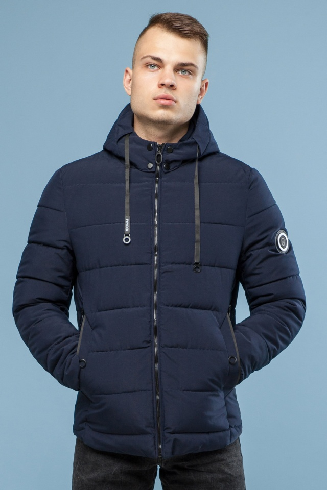Зимняя куртка в минималистическом стиле тёмно-синяя мужская модель 6009 Kiro Tokao – Ajento фото 3