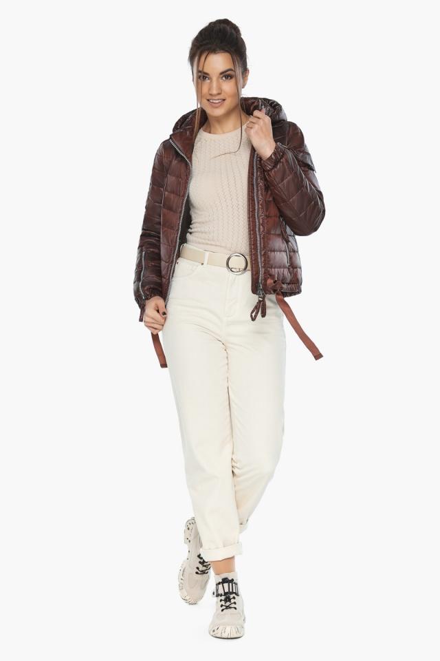 """Удобная куртка женская каштановая осенне-весенняя модель 62574 Braggart """"Angel's Fluff"""" фото 3"""