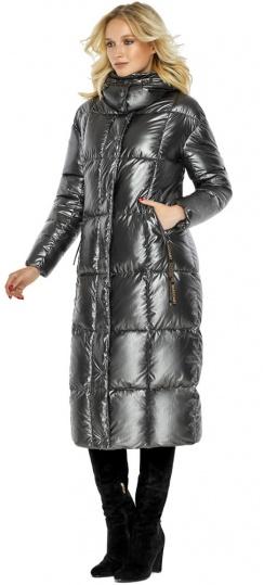 """Зимняя женская куртка длинная цвет темное серебро модель 42830 Braggart """"Angel's Fluff"""" фото 1"""