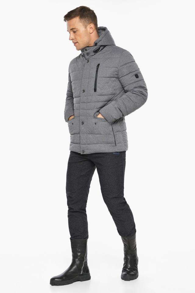 """Куртка – воздуховик пепельный зимний на молнии мужской модель 15078 Braggart """"Angel's Fluff Man"""" фото 7"""