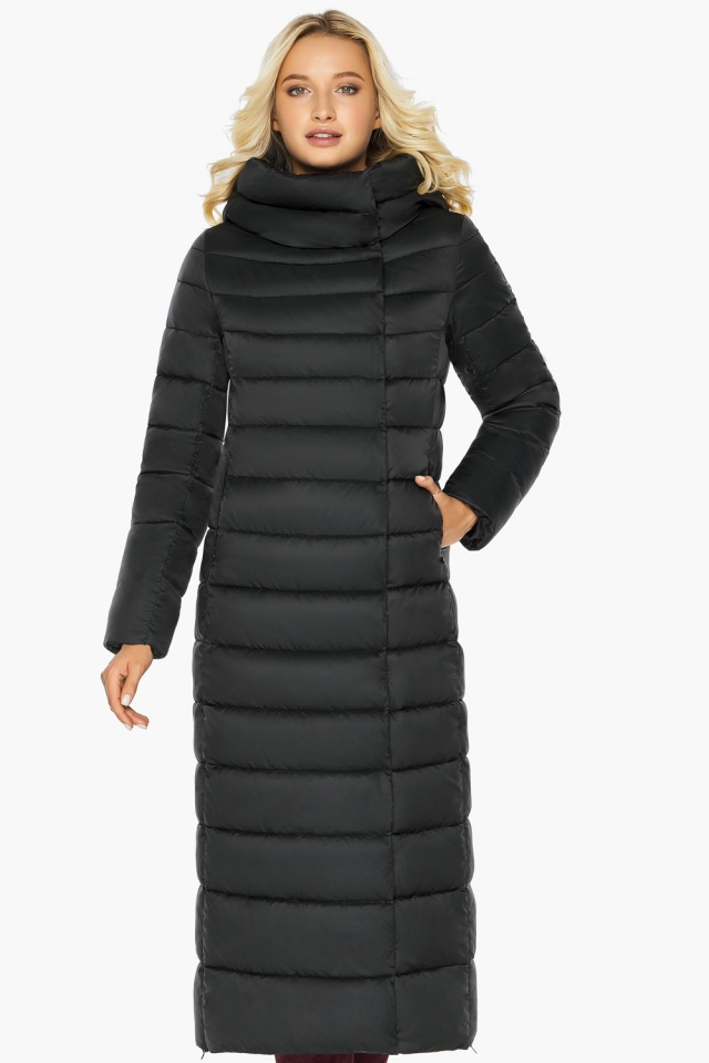 """Чёрная куртка женская с вшитым капюшоном модель 46620 Braggart """"Angel's Fluff"""" фото 3"""