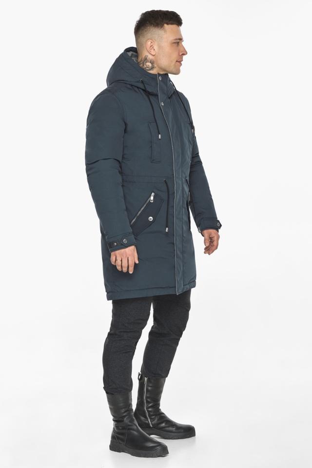 """Куртка – воздуховик стильный графитово-синий мужской зимний модель 30882 Braggart """"Angel's Fluff Man"""" фото 2"""