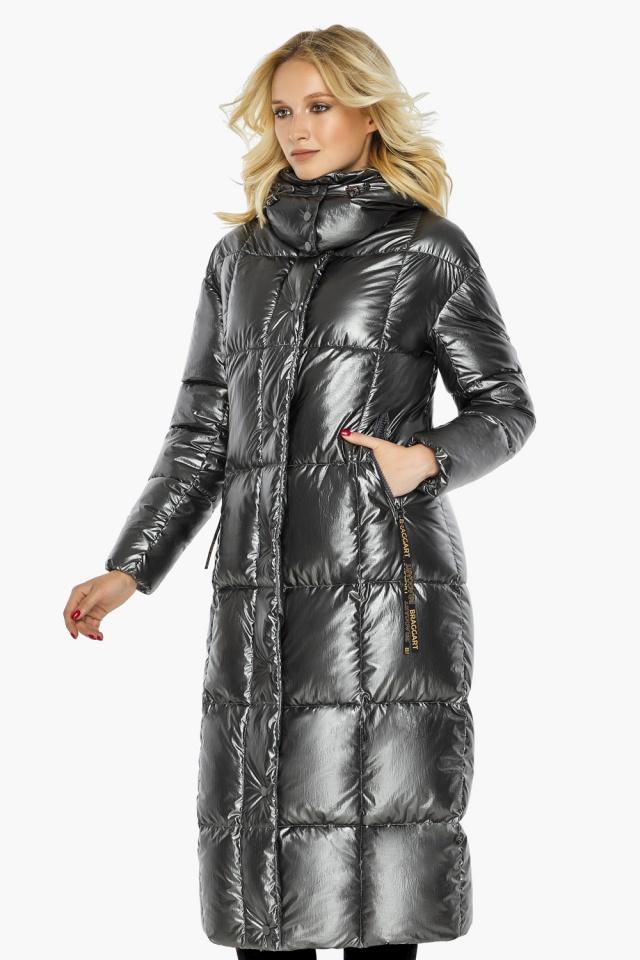 """Зимняя женская куртка длинная цвет темное серебро модель 42830 Braggart """"Angel's Fluff"""" фото 5"""