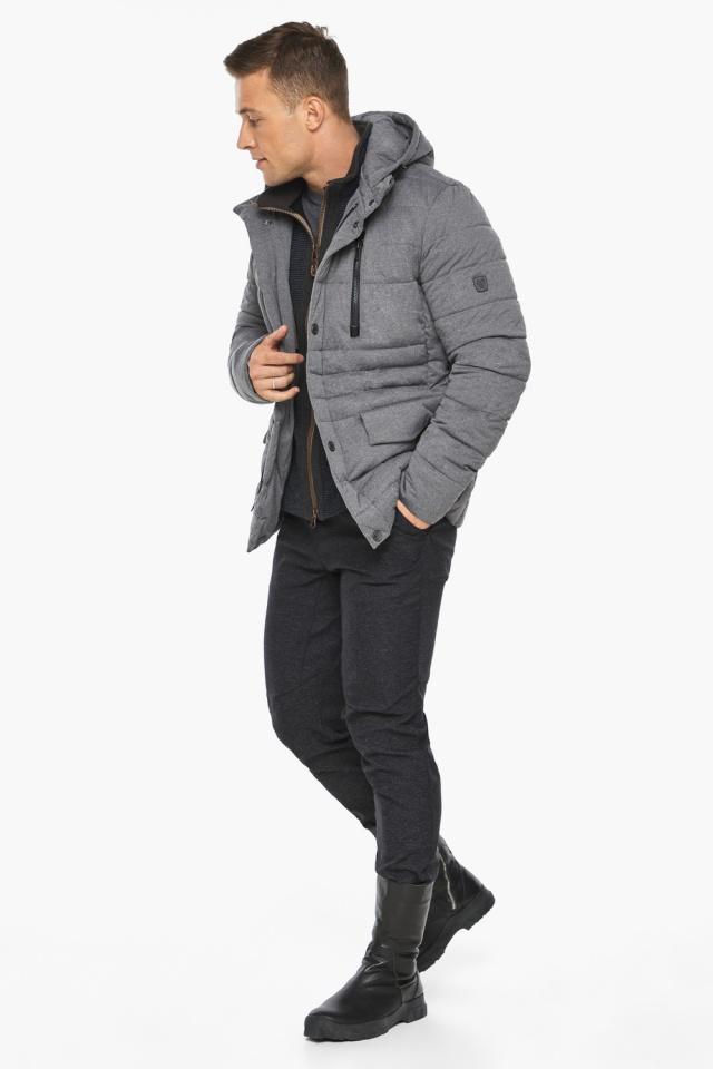 """Куртка – воздуховик пепельный зимний на молнии мужской модель 15078 Braggart """"Angel's Fluff Man"""" фото 2"""