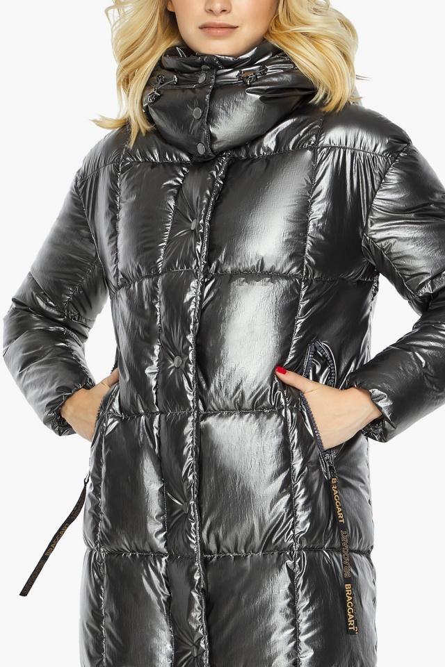 """Зимняя женская куртка длинная цвет темное серебро модель 42830 Braggart """"Angel's Fluff"""" фото 7"""