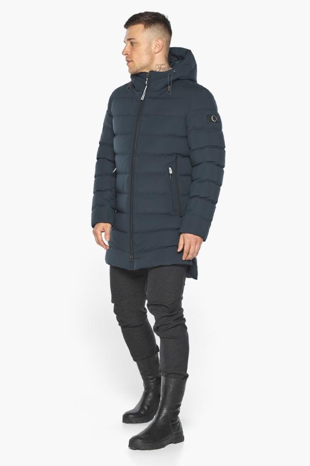 """Удобная графитово-синяя зимняя мужская куртка модель 49080 Braggart """"Aggressive"""" фото 2"""