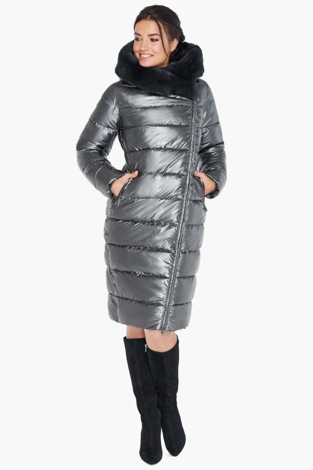 Воздуховик на зиму женский цвет темное серебро модель 31049