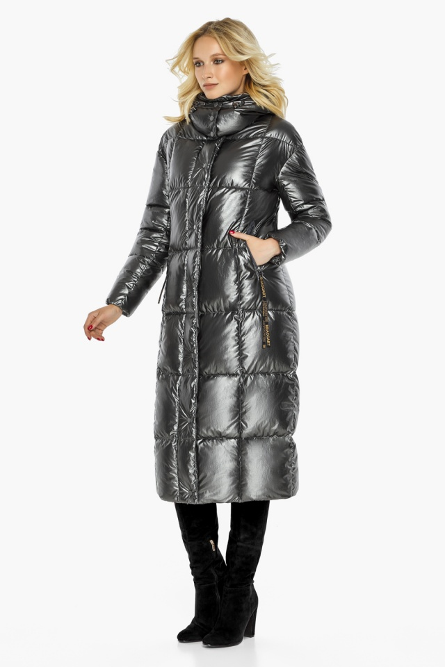 """Зимняя женская куртка длинная цвет темное серебро модель 42830 Braggart """"Angel's Fluff"""" фото 2"""