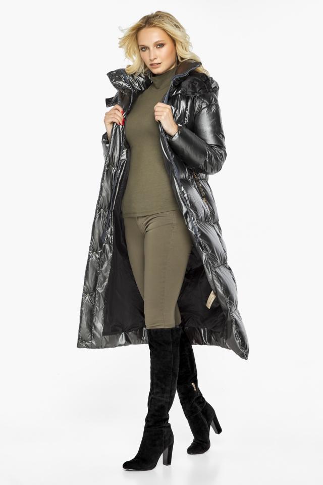 """Зимняя женская куртка длинная цвет темное серебро модель 42830 Braggart """"Angel's Fluff"""" фото 3"""