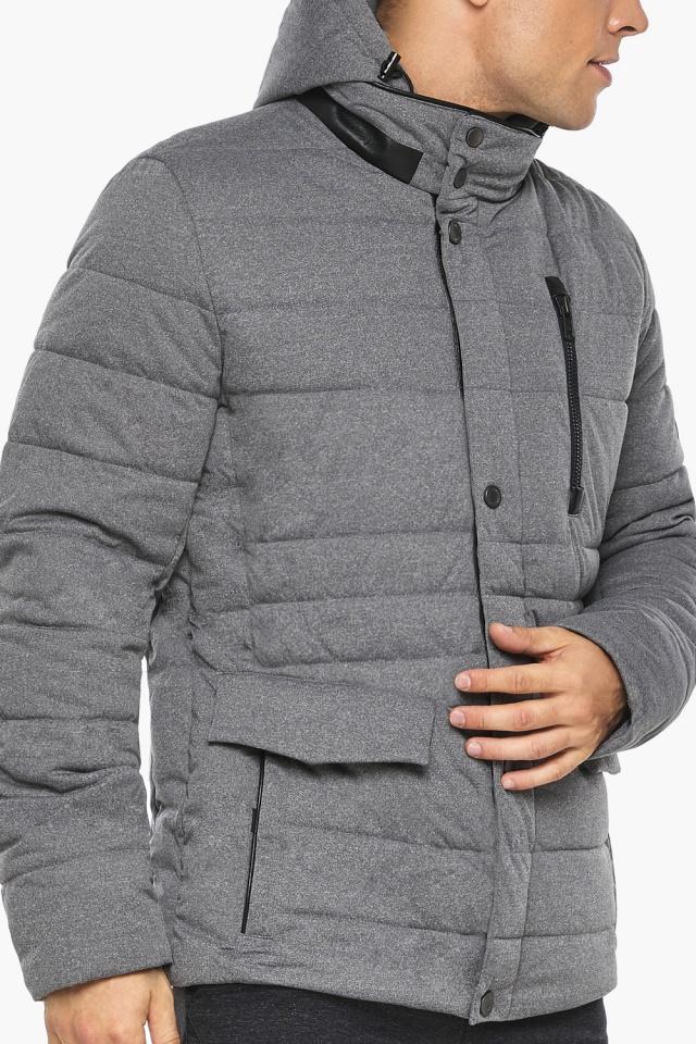 """Куртка – воздуховик пепельный зимний на молнии мужской модель 15078 Braggart """"Angel's Fluff Man"""" фото 9"""