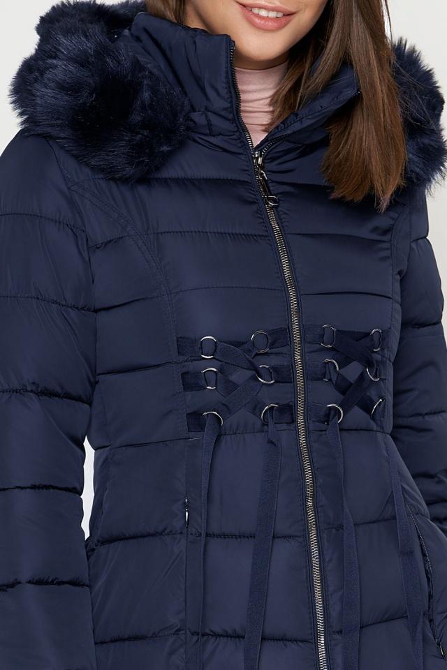 Синяя куртка женская с воротником-стойкой зимняя модель 1816 Tiger Force фото 5