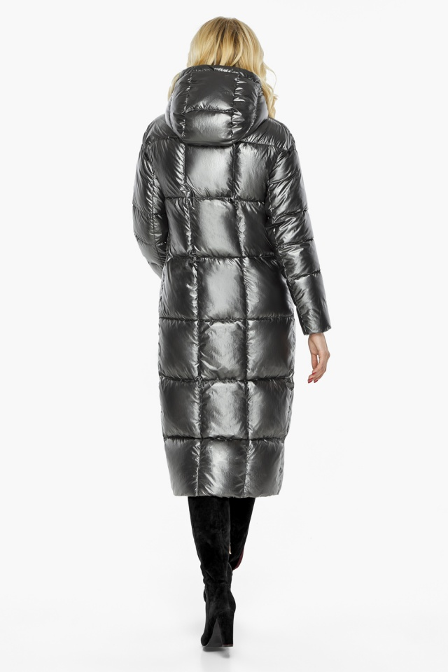 """Зимняя женская куртка длинная цвет темное серебро модель 42830 Braggart """"Angel's Fluff"""" фото 6"""