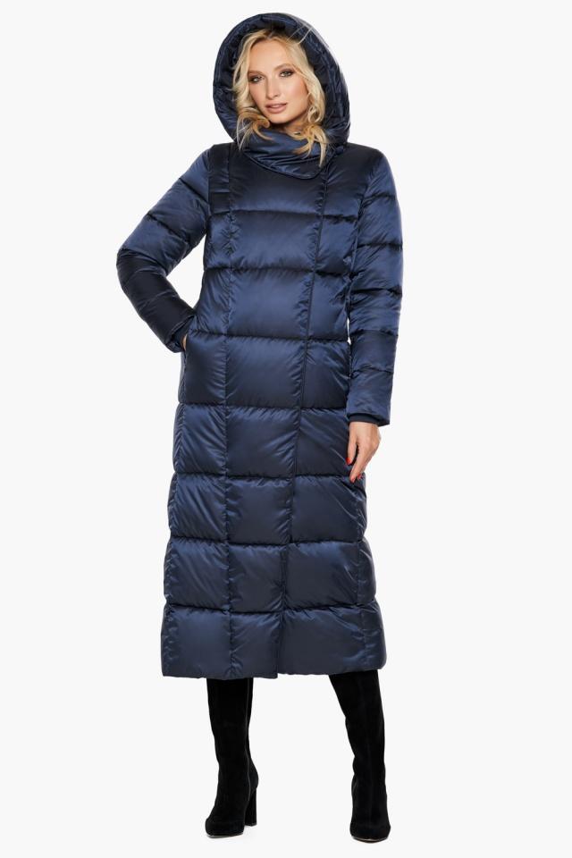 Куртка женская модная на зиму цвет синий бархат модель 31056