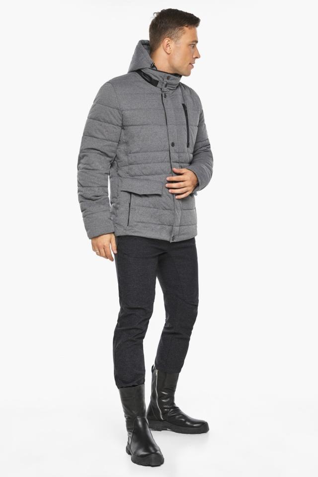 """Куртка – воздуховик пепельный зимний на молнии мужской модель 15078 Braggart """"Angel's Fluff Man"""" фото 6"""