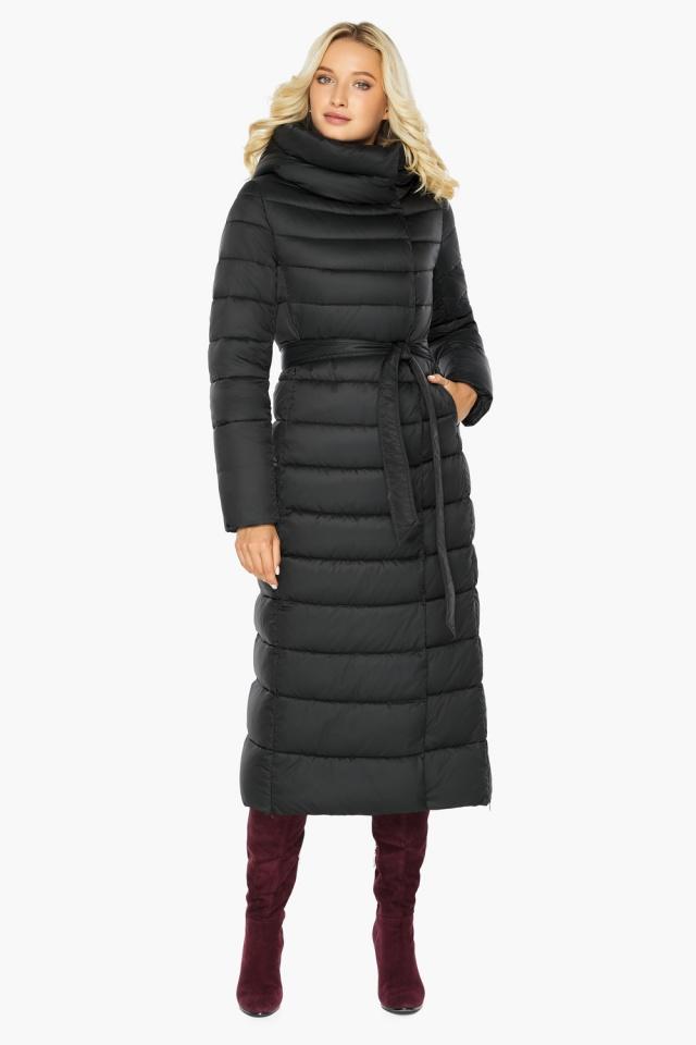 """Чёрная куртка женская с вшитым капюшоном модель 46620 Braggart """"Angel's Fluff"""" фото 2"""