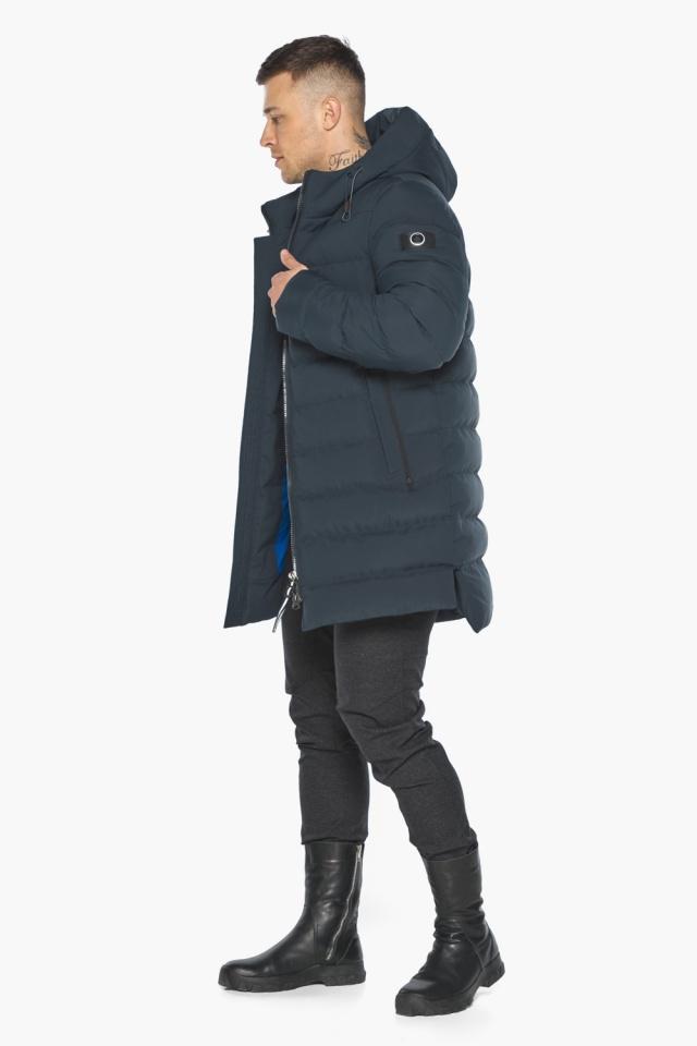 """Удобная графитово-синяя зимняя мужская куртка модель 49080 Braggart """"Aggressive"""" фото 7"""