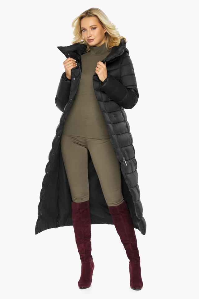 """Чёрная куртка женская с вшитым капюшоном модель 46620 Braggart """"Angel's Fluff"""" фото 4"""