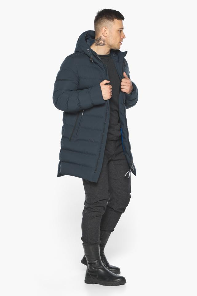 """Удобная графитово-синяя зимняя мужская куртка модель 49080 Braggart """"Aggressive"""" фото 4"""