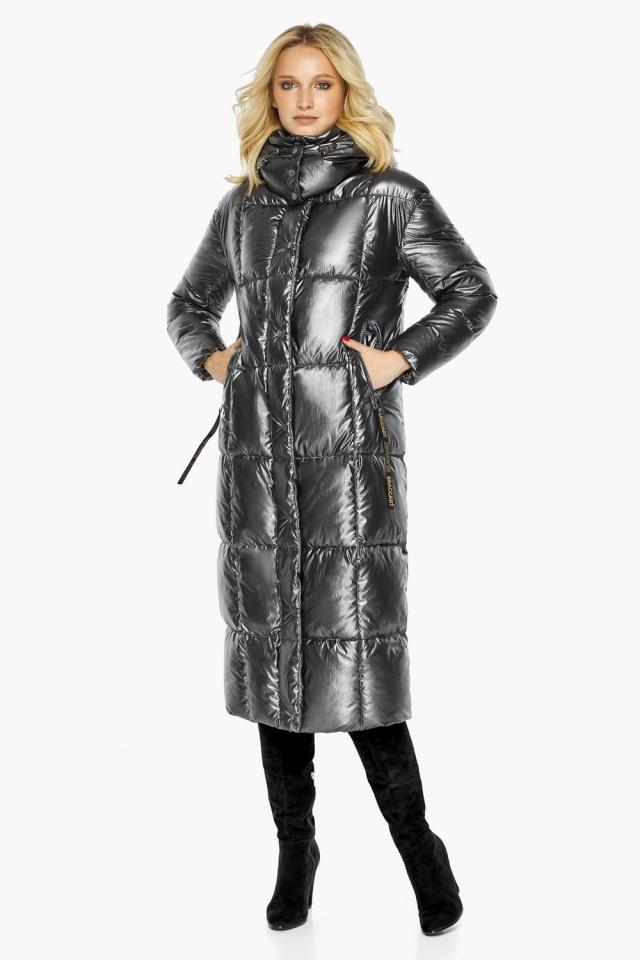 """Зимняя женская куртка длинная цвет темное серебро модель 42830 Braggart """"Angel's Fluff"""" фото 4"""