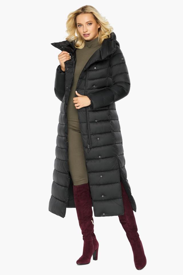 """Чёрная куртка женская с вшитым капюшоном модель 46620 Braggart """"Angel's Fluff"""" фото 5"""