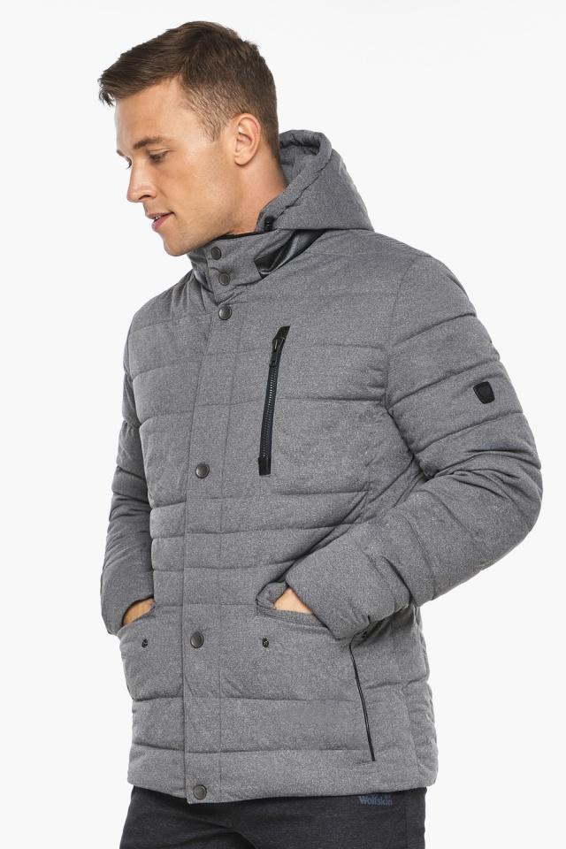 """Куртка – воздуховик пепельный зимний на молнии мужской модель 15078 Braggart """"Angel's Fluff Man"""" фото 3"""