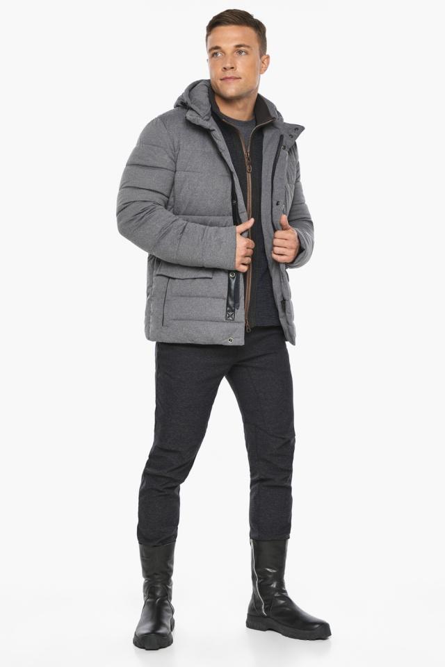 """Куртка – воздуховик пепельный зимний на молнии мужской модель 15078 Braggart """"Angel's Fluff Man"""" фото 4"""
