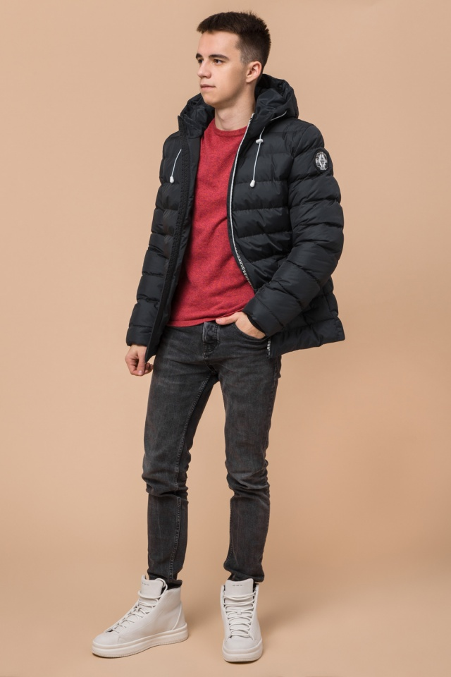 """Куртка прямого фасона для мальчика зимняя графитовая модель 76025 Braggart """"Teenager"""" фото 3"""