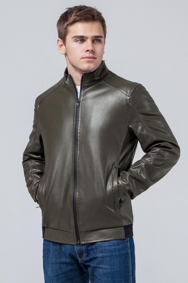 """Короткая подростковая куртка из полиуретановой кожи цвет хаки модель 1588 Braggart """"Youth"""" фото 3"""